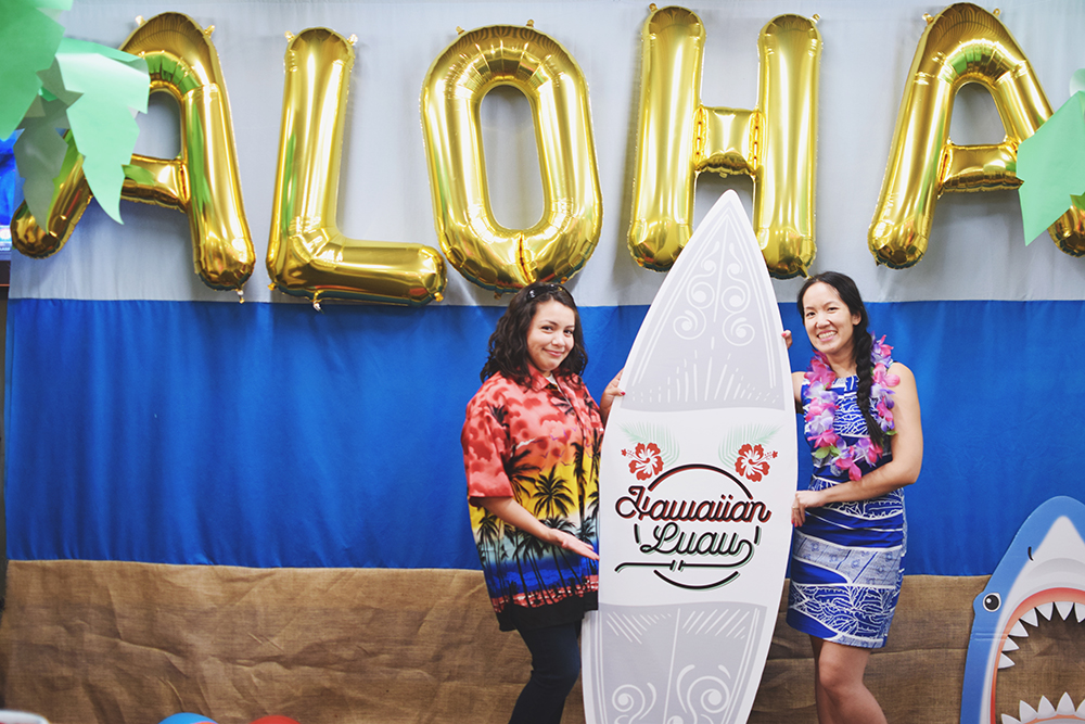Joselyn Salazar and Kathy Phan strike a pose in the Hawaiin photo booth.