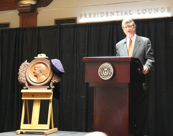 Former university President Bill Powers speaks in the Texas Union.