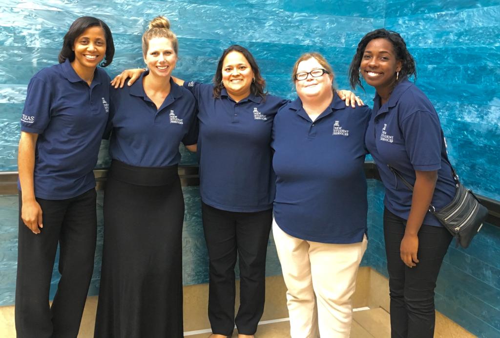 Celena Mondie-Milner, Gretchen Pierce, Desiree Alva, Jennifer Carter and Shannon Price toured the Blanton Museum as part of their Orientation Debriefing retreat on Sept. 15.