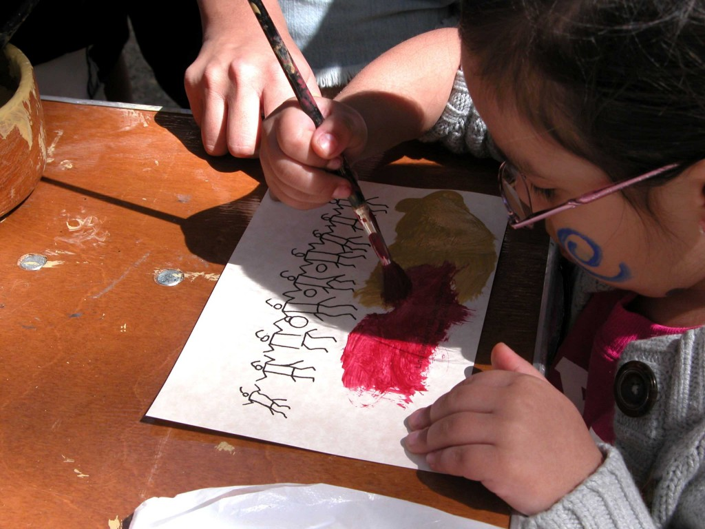 Students learning the fine art of rock painting.  We will provide your children paint and the tools to apply it; what happens  during the car ride home with the wet paint we are not accountable for.  You have been warned.  ;)