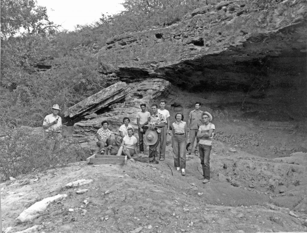 TARL's first Director, Dee Ann Suhm (later Dee Ann Story), as a student at the UT Kincaid Rockshelter field school in 1953.
