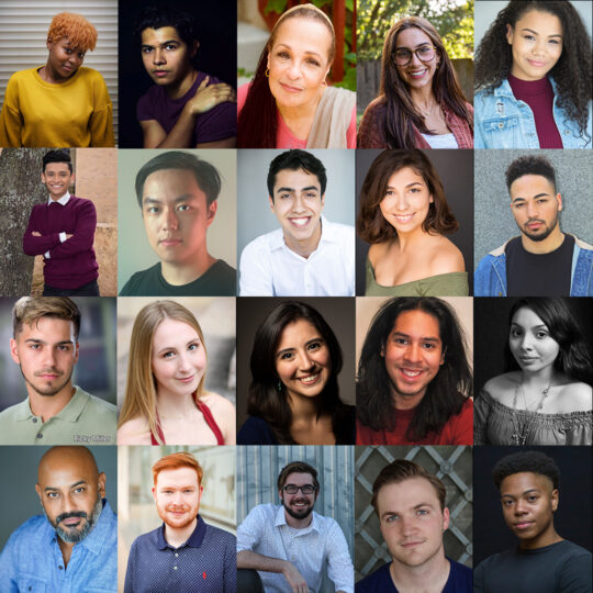 headshots for 20 actors, organized in a square with five columns and four rows