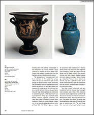 Red-figure bell krater and Blue Canopic jar bearing the baboon head of the god Hapi