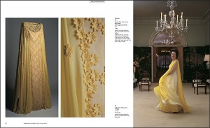 Lady Bird Johnson twirling in yellow dress.