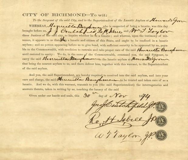 Commitment Order, 1874.