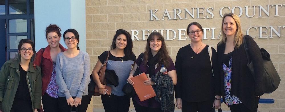 Social work students who volunteers at Karnes