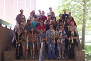 Professors Johansen and Brickens with the combined trombone studios