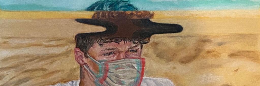 2020 Winner, Clayton V. with colored pencil beach scene, Intensive 2020