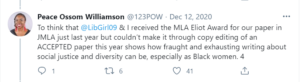 Tweet by Peace Ossom-Williamson dated December 12, 2020