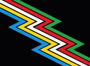 Flag with black background with blue, yellow, white, red, and green zigzagging lines