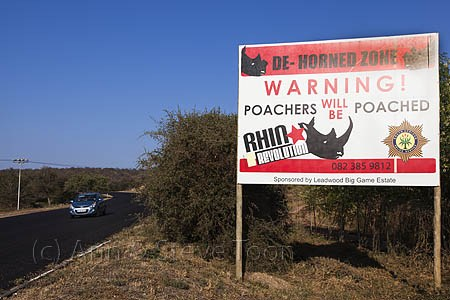 """""""Poachers will be poached"""" sign in South Africa. From www.fightforrhinos.com."""
