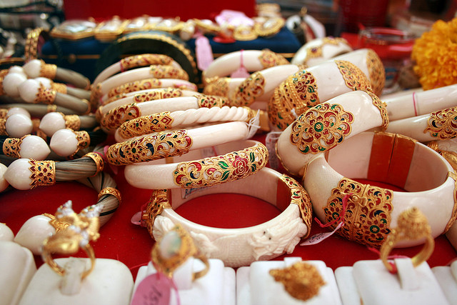 Ivory bangles on sale in Thailand