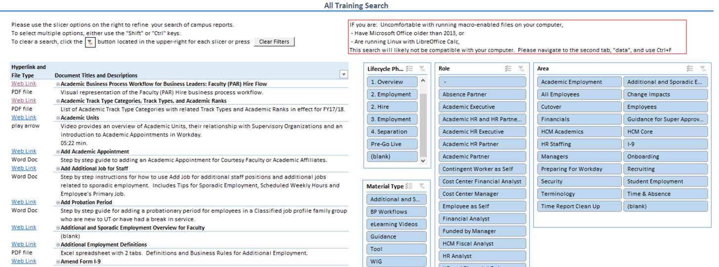 Screenshot of All Training Spreadsheet Filter